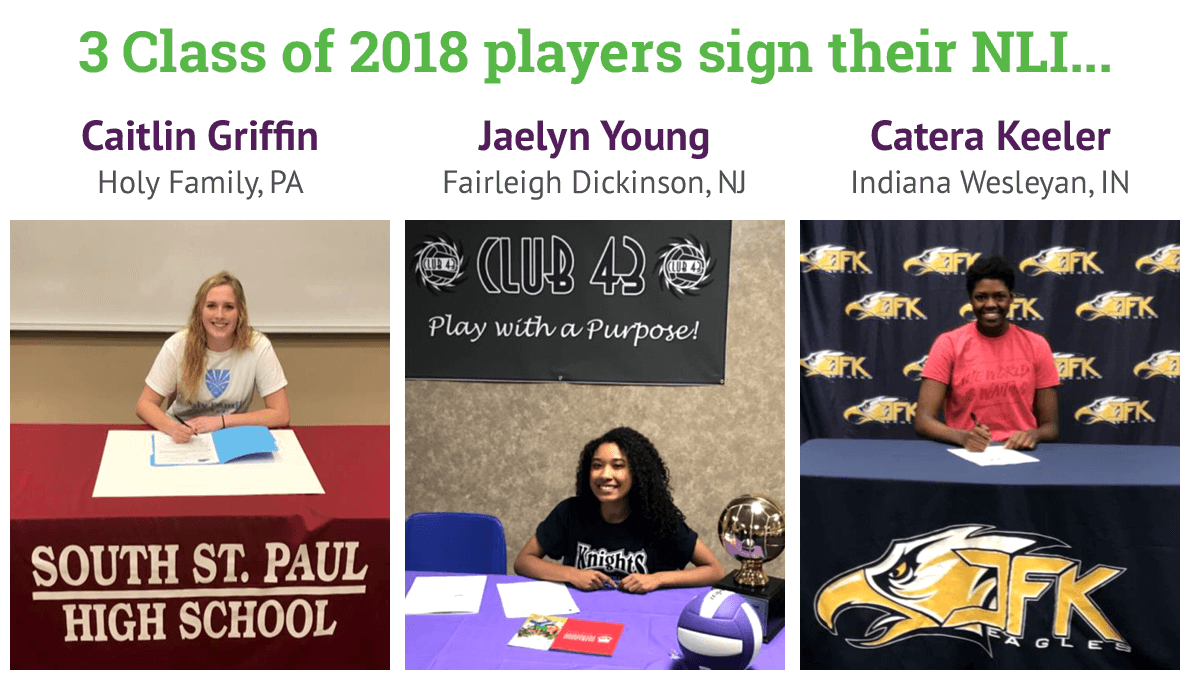 3 Class of 2018 players sign their NLI...